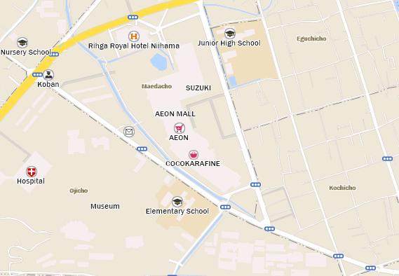 AEON MALL Niihama Starbucks Coffee Japan - Niihama map