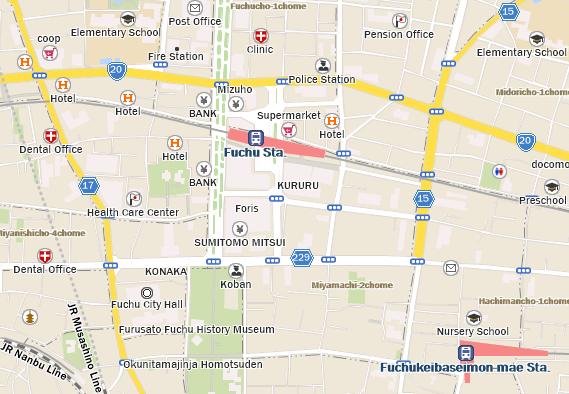 Fuchu Kururu Starbucks Coffee Japan - Fuchu map