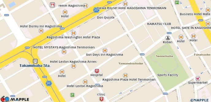 Sun Days Inn Kagoshima Days Inn Map on