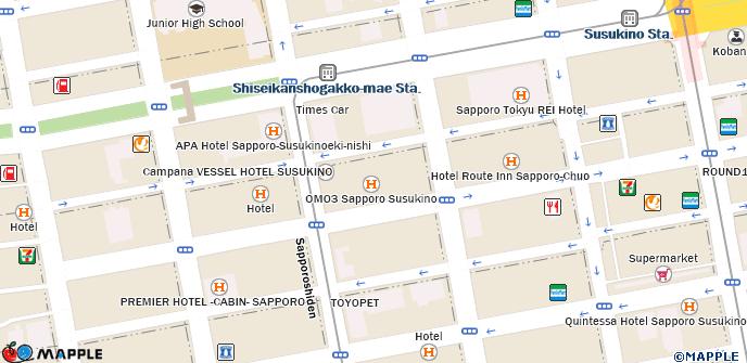 Sapporo Municipal Subway Map.The B Sapporo Susukino