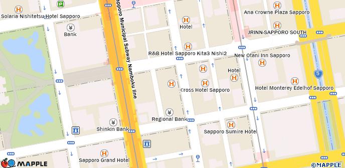 Sapporo Municipal Subway Map.Hotel Hokke Club Sapporo