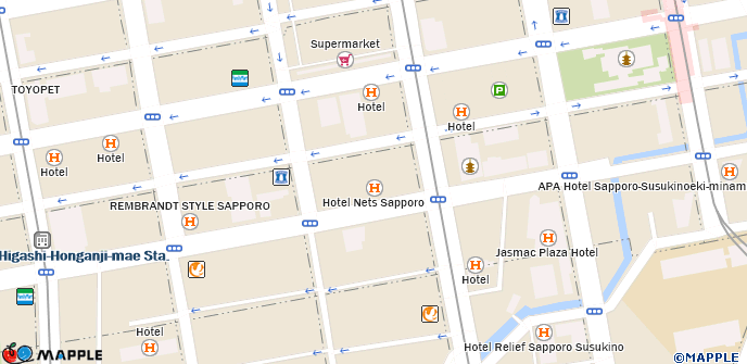 Sapporo Municipal Subway Map.Hotel Nets Sapporo