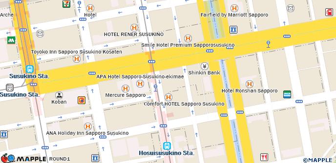 Sapporo Municipal Subway Map.Daiwa Roynet Hotel Sapporo Susukino