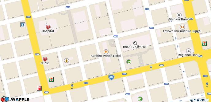 Kushiro Prince Hotel on map of downtown shops, map osaka japan, were is kushiro japan, map of downtown park city, japanese cranes hokkaido japan, map fukushima japan, kushiro hokkaido japan, atlas of japan,
